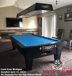 Carol's 9ft Pro AM PRC Black Tables from Michigan with matching Light