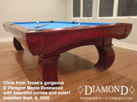 DIAMOND 9' PARAGON MAPLE ROSEWOOD - CHRIS FROM TEXAS - INSTALLED SEPT 6, 2020