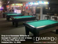 4 X DIAMOND 7' PRO-AM PRC BLACK - KENNESAW BILLIARDS FROM GEORGIA - INSTALLED NOVEMBER 14, 2020