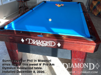 DIAMOND 9' PRO-AM DYMALUX ROSEWOOD - PHIL FROM MISSOURI - INSTALLED DEC 8, 2020