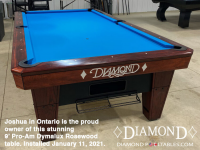 DIAMOND 9' PRO-AM DYMALUX ROSEWOOD - JOSHUA FROM ONTARIO - INSTALLED JAN 11, 2021
