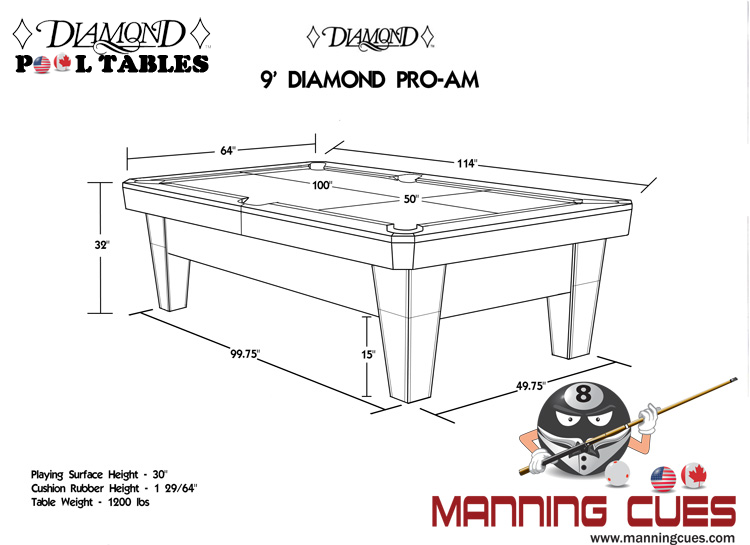 Diamond smart pool table - What is the size of a standard pool table ...