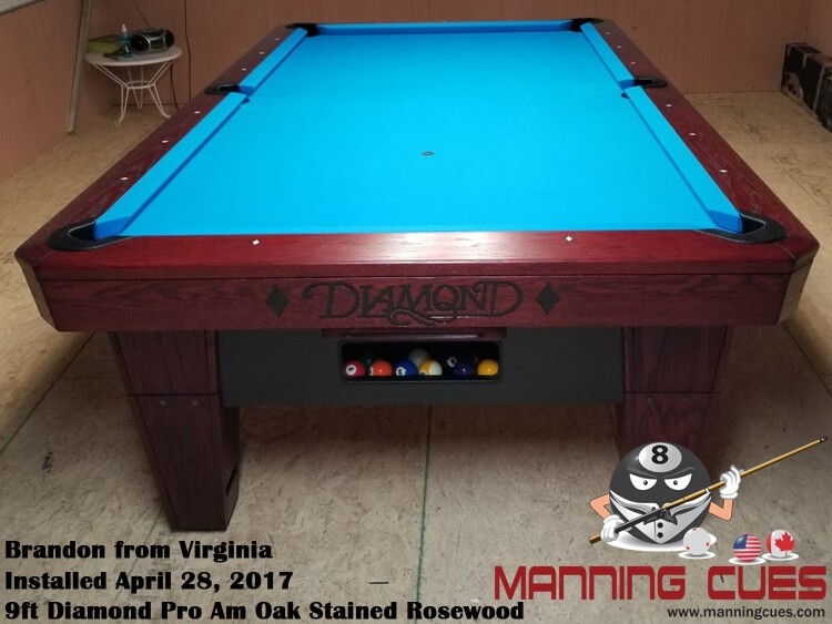 Brandon's 9ft Pro AM Rosewood Oak Table from Virginia