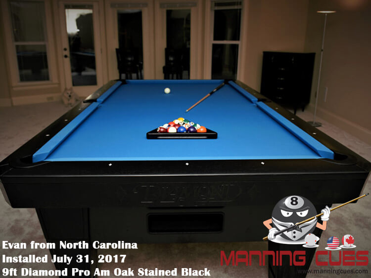 Evan's 9ft Pro AM  Oak Stained Black Table from North Carolina