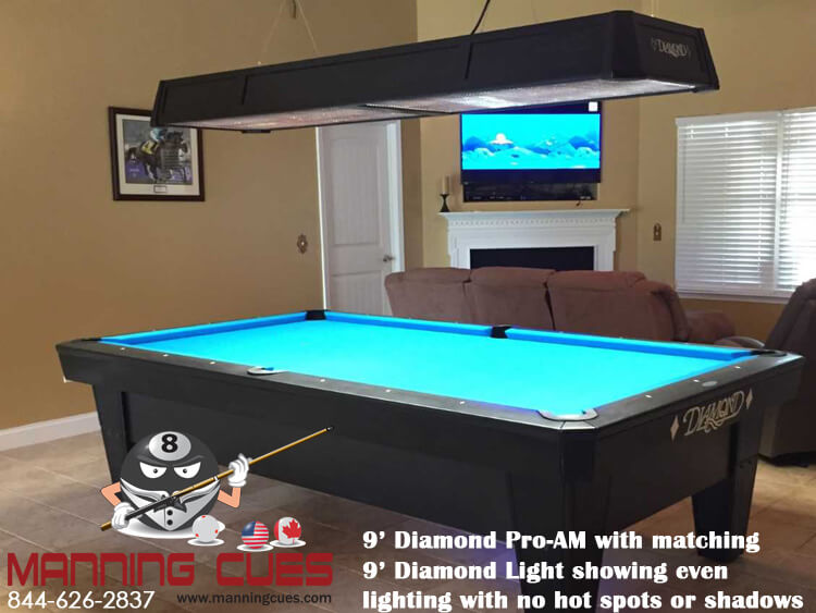 Diamond professional led table light 9 foot - Professional pool table size ...
