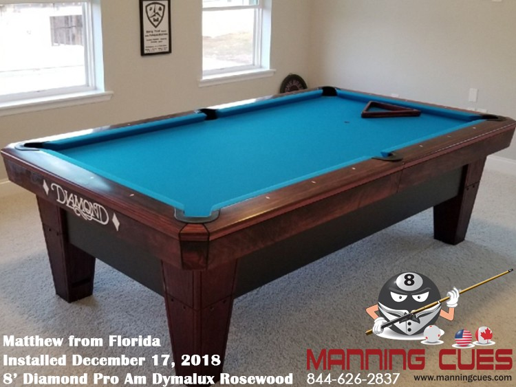 Matthew's 8' Pro Am Dymalux Rosewood Table from Florida