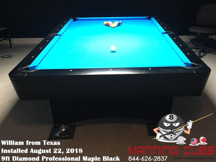 William's 9ft Professional Maple Black Table from Texas